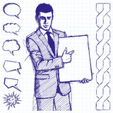 Sketch Businessman With Empty Write Board Royalty Free Stock Photography
