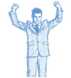 Sketch businessman with hands up Stock Photo