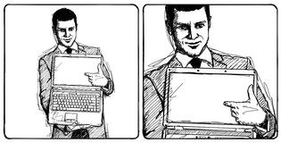 Sketch Businessman With Open Laptop In His Hands Stock Images