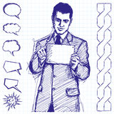 Sketch Businessman With Touch Pad. Vector sketch, comics style man businessman in suit with touch pad in his hands Stock Image