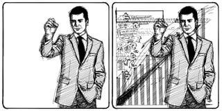 Sketch Businessman Writing Something Royalty Free Stock Image