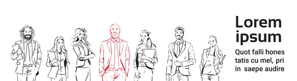 Sketch businesspeople team stay on white background, leader in front of team of successful executives, portrait group of. Hand drawn business people copy space royalty free illustration