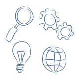 Sketch bussiness icons set. Hand drawn style Stock Images