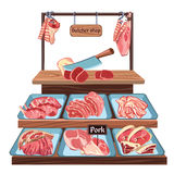 Sketch Butcher Shop Concept Royalty Free Stock Photography