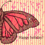 Sketch butterfly, vector vintage background Stock Images