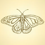 Sketch butterfly, vector vintage background Royalty Free Stock Photography