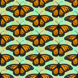 Sketch butterfly, vector vintage seamless pattern Stock Photography