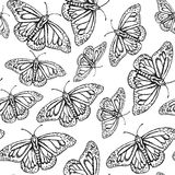 Sketch butterfly, vector vintage seamless pattern Stock Photos