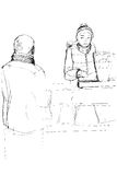 Sketch of the buyer and seller in the market near the balance Royalty Free Stock Photos
