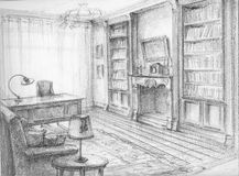 Sketch of the cabinet. The interior sketch of the cabinet. Pencil, paper Stock Images