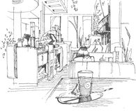 Sketch of a cafe. In ink vector illustration