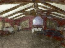 Sketch of cafe interior Royalty Free Stock Photography
