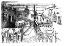 Sketch of cafe interior. Artistic black and white sketch of quaint cafe interior vector illustration