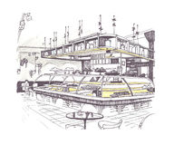 Sketch of cafe interior. Graphic sketch of a cafe interior royalty free illustration