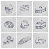 Sketch cake icons Royalty Free Stock Images