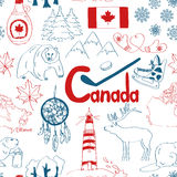 Sketch Canada seamless pattern Stock Image
