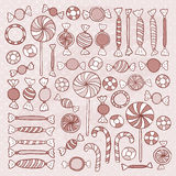 Sketch Candies Sweets Hand Drawn Objects Set Stock Photography