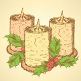 Sketch candle with mistletoe in vintage style Royalty Free Stock Photos