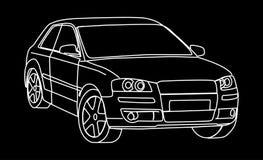 Sketch of car. Sketch of a car in white on black vector illustration