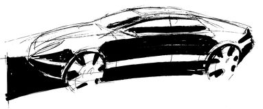 Sketch car. Hand drawn sketch car sedan Royalty Free Stock Image