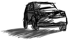 Sketch of a car in black and grey tones Stock Image