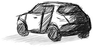 Sketch of a car in black stock illustration