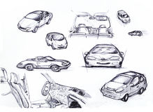 Sketch Car set Royalty Free Stock Images
