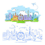 Sketch card travel the world. Vector illustration Stock Photography