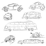 Sketch cars and bus in set. Automobile doodle illustration. Rast Stock Photography