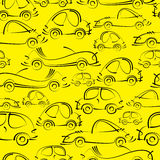 Sketch cars seamless pattern Stock Images