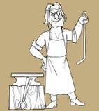 Sketch cartoon fabulous man blacksmith Royalty Free Stock Photography