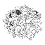 Sketch Cartoon Illustration With Decorative Cosmetics. Royalty Free Stock Photography