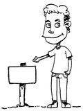 Sketch Cartoon man. Sketch cartoon illustration of a man smiling Stock Photo