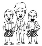 Sketch Cartoon man. Sketch cartoon illustration of three man shouting Stock Images