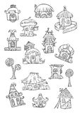 Sketch of cartoon vector houses. Series separate lodge Stock Photography