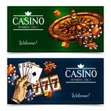 Sketch Casino Horizontal Banners Royalty Free Stock Photo