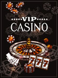 Sketch Casino Poster. Vip casino poster with roulette wheel cards for poker play chips dice and jackpot icons in sketch style vector illustration Royalty Free Stock Image