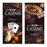 Sketch Casino Vertical Banners Royalty Free Stock Photos
