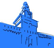 Sketch of the Castello Sforzesco of Milan stock illustration