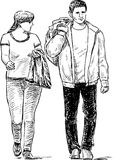 Sketch of the casual pedestrians couple Royalty Free Stock Photography