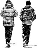Sketch of the casual pedestrians Stock Photo
