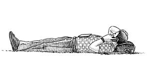 Sketch of a casual townsman lying on the lawn grass and talking on a mobile phone. Hand drawing of a casual city dweller lying on the lawn grass and talking on a royalty free illustration