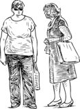 Sketch of the casual townswomen talking on the street royalty free illustration