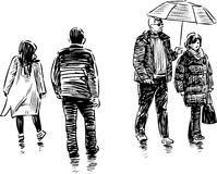 Sketch of the casual urban citizens Royalty Free Stock Image