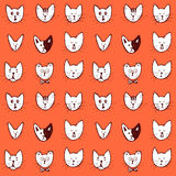 Sketch cat face seamless pattern Royalty Free Stock Photos