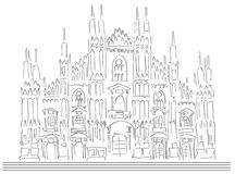 Sketch of the cathedral of Milan isolated Royalty Free Stock Photos