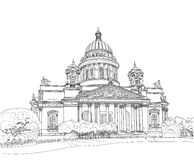 Sketch of the Cathedral in St. Petersburg Stock Photo