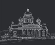 Sketch of the Cathedral in St. Petersburg Stock Image