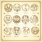 Sketch cats zodiac signs in vintage style Royalty Free Stock Image