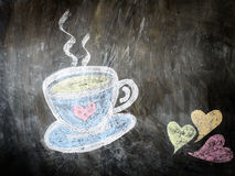 Sketch chalk cup of coffee and tea Stock Images